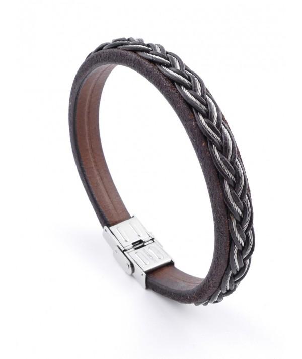 Stainless Steel Wire & Leather Men's Bracelet