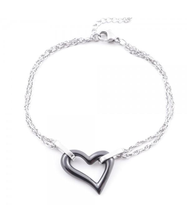 Elegant steel & ceramic bracelet for ladies
