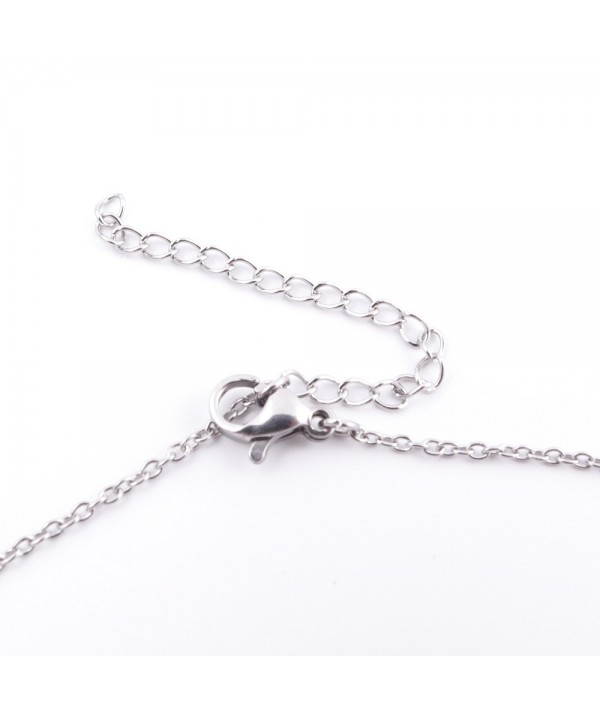 Stainless steel necklace with ceramic pendant