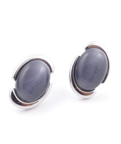 Rhodium plated fashion jewelry brass post earring with cat's eye stone
